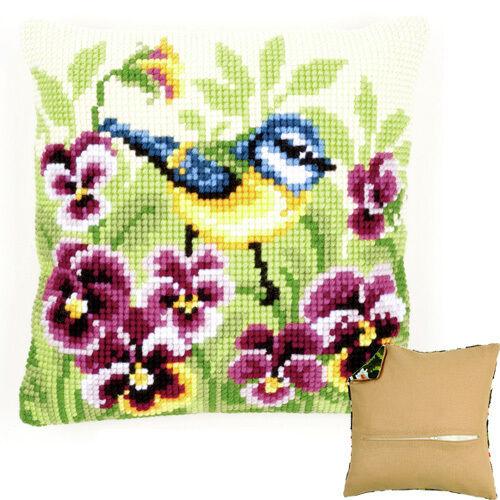 Vervaco Blue Tit on Pansies Cross Stitch Cushion Kit PN-0145430