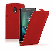 SLIM RED Leather Flip Case Cover Pouch For Motorola Moto G4 Play (+2 FILMS)