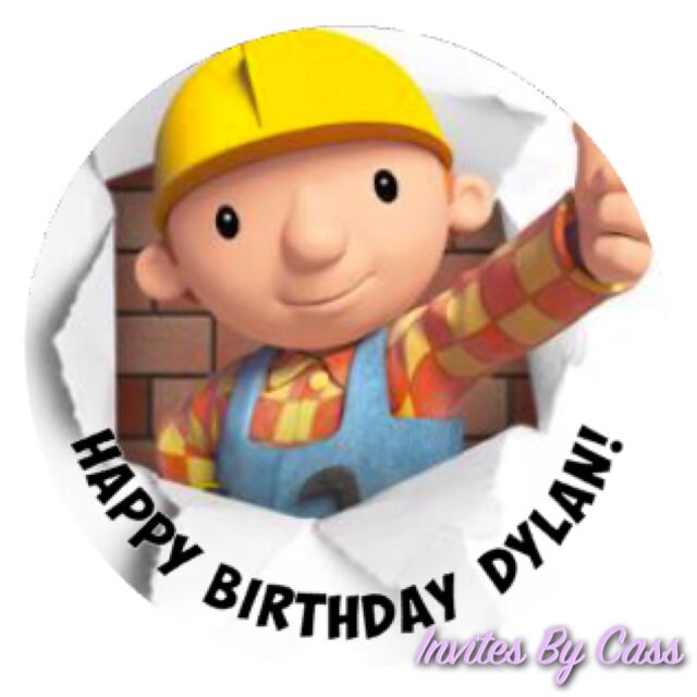 Bob The Builder Round 7 Inch Edible Image Cake Topper Birthday Party