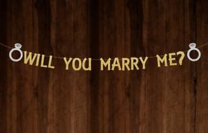 Voulez-vous m/'épouser Bannière Gold Glitter Bunting Mariage Bannière proposition Bannière