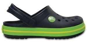 383b76e38fa5 Image is loading Crocs-Crocband-Kids-Clogs-Navy-Volt-Green