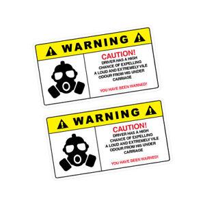 2X-WARNING-FART-Sticker-Decal-Car-Drift-Turbo-Euro-Fast-Vinyl-0280A