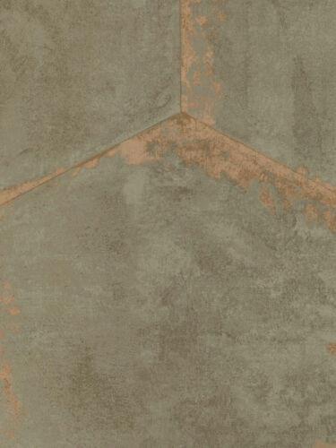 Wallpaper Designer Large Hexagon Faux Sage Tiles With Copper Metallic Accents