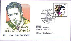 BRD-1998-Bertolt-Brecht-FDC-der-Nr-1972-mit-Bonner-Stempel-Gelaufen-1801