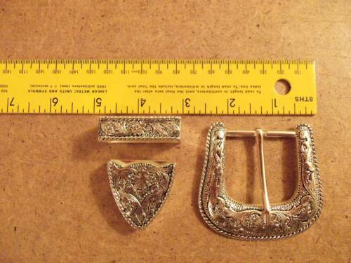 """1 1//2/"""" Antique Silver Plated Western Floral Buckle Set"""
