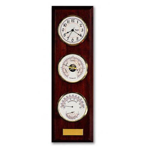Bulova Engraveable Quartz Wall Clock Temperature, Barometer &  Humidity  # 89493