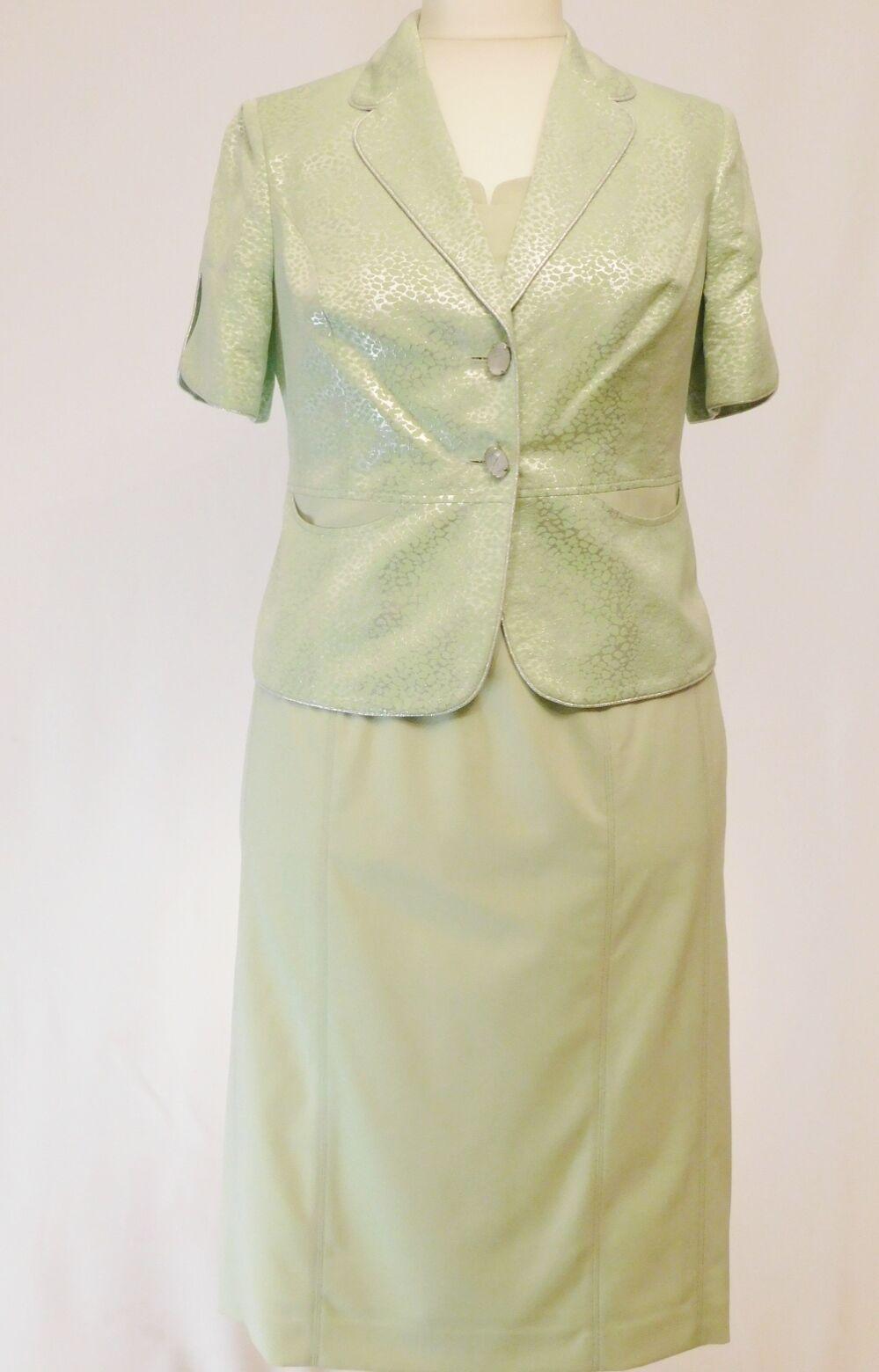details zu damenkostüm zweiteilig kleid blaser jacke brautmutterkleid mint  knielang gr. 40