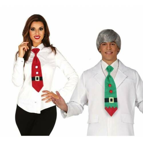 Green Elf or Red Father Christmas Long  Novelty Tie  Xmas Fancy Dress