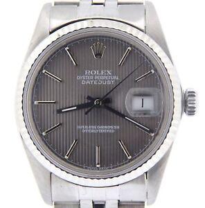 Rolex-Datejust-Stainless-Steel-Watch-18K-White-Gold-Bezel-Slate-Tapestry-16014