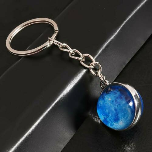 Full Moon Space Lunar Image Keychain Astronaut Pendant Science Planet Q