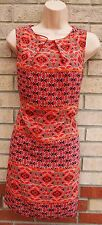 PRIMARK RED CORAL BLUE FLORAL PAISLEY SMOCK SHIFT TUNIC CAMI TEA DRESS 10 S