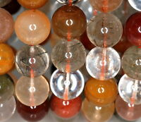 13-14mm Rainbow Rutilated Quartz Gemstone Round Loose Beads 8.5