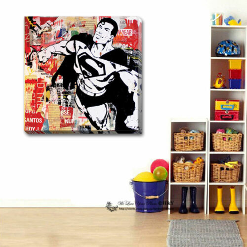 Superman Stretched Canvas Print Framed Wall Art Painting Boys Room Decor Gift
