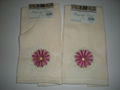 Set of 2 Beige Deluxe Fingertip Towels with Pink Embroidered Flower NEW