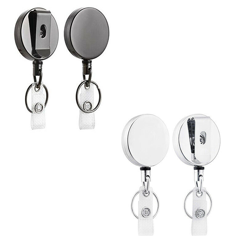 2 Pack Heavy Duty Retractable Badge Holder Reel,Metal ID Badge Holder with with