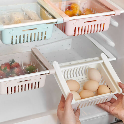 CW/_ Pull-out Refrigerator Storage Box Holder Food Organizer Drawer Shelf Novelty