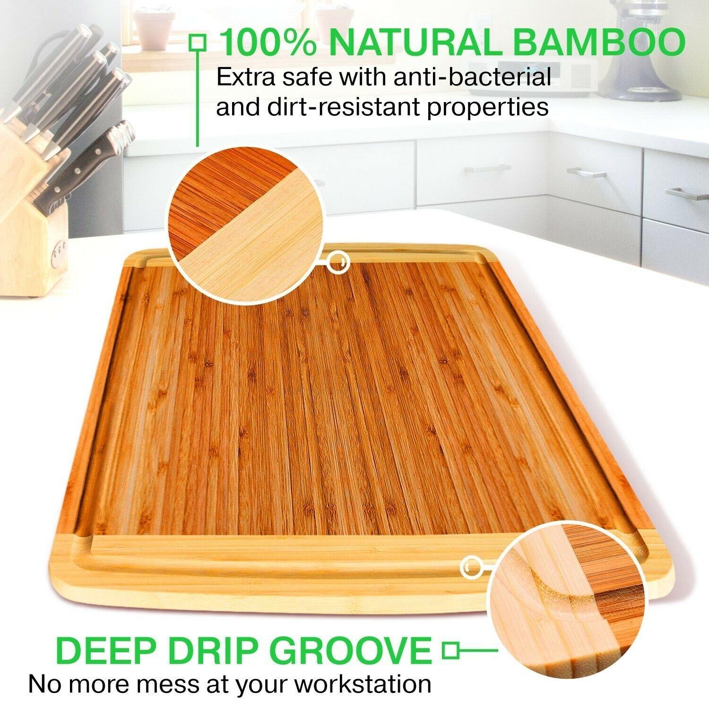 Boîte de 10 grands Organic Bambou Planche à découper avec jus de Groove, 12  X 18