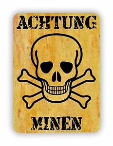 METAL-SIGN-WALL-PLAQUE-ACHTUNG-MINEN-MINES-Humorous-Funny-poster-print-hanging