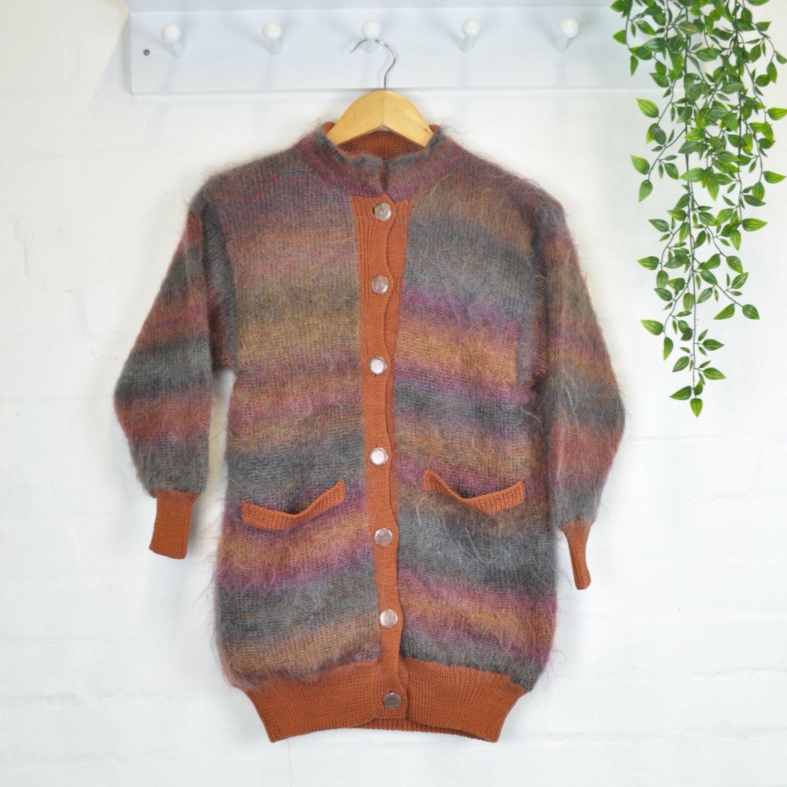 Vintage 80's fluffy off rainbow angora cardigan xs/s cottagecore brown-show original title