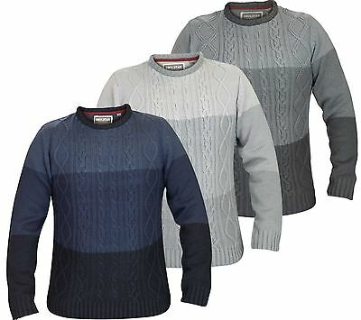 Mens Soul Star Crew Neck Knitwear Jumper Top Check Sweater Long Sleeve Top