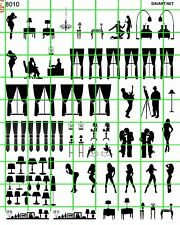 8010 DAVE'S SCALE DECALS WINDOW CURTAINS FURNITURE PEOPLE LAMP SILHOUETTES