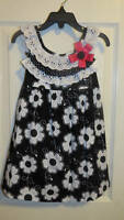 Rare Editions Black White Flower Print Dress 2t Or 4t