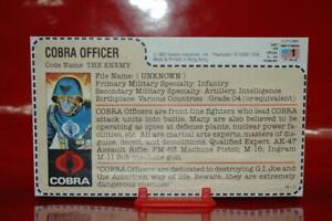 1983 Gijoe Cobra Officer ( Full Uncut Filecard ) Very Nice