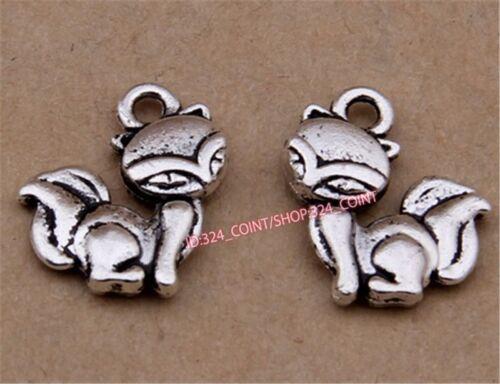 P1584 50pc Retro Tibetan Silver fox Charm Beads Pendant Jewellery Making