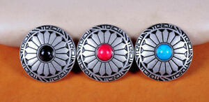 3X Retro Silver Turquoise Equestrian Western Saddles Leathercraft Belt Conchos