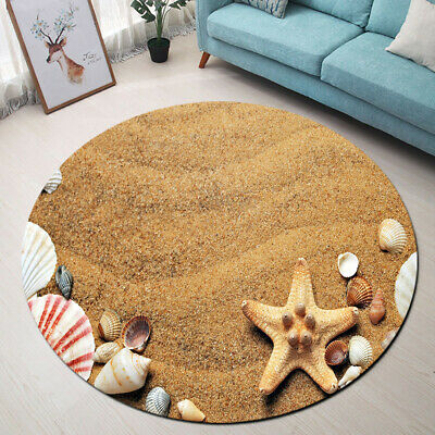 Home Kitchen Bathroom Area Rugs Carpets Non-Slip Mat Sandy Beach Shells Starfish
