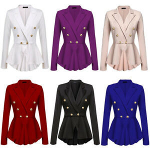 HOT-Womens-business-Double-Breasted-Button-formal-Blazer-Ladies-Coat-Jacket-Tops