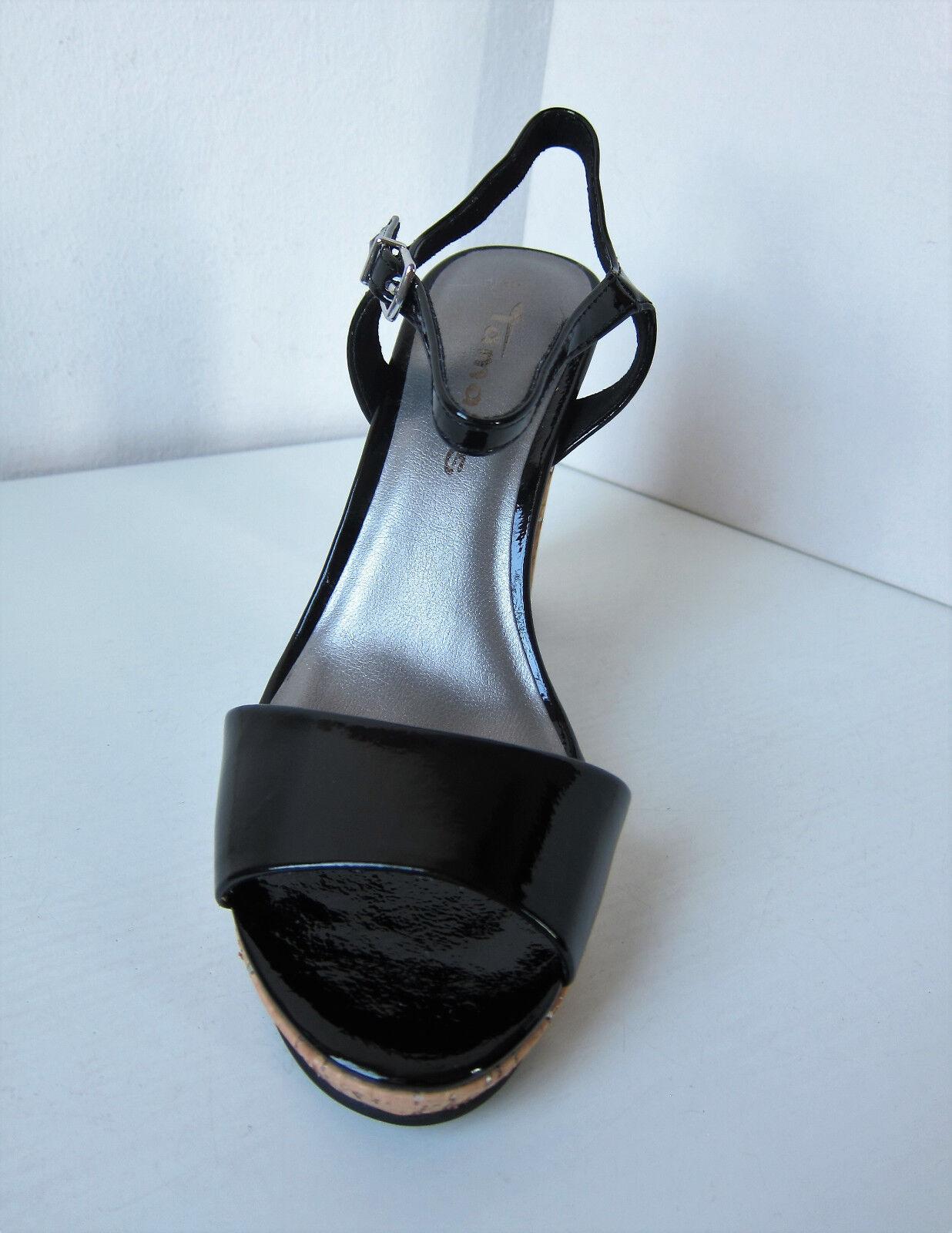 Tamaris Sandale Lack Riemchen Pumps schwarz Gr 36 Sandale Tamaris Pumps Sandalette Patent Myggia 1d86ca
