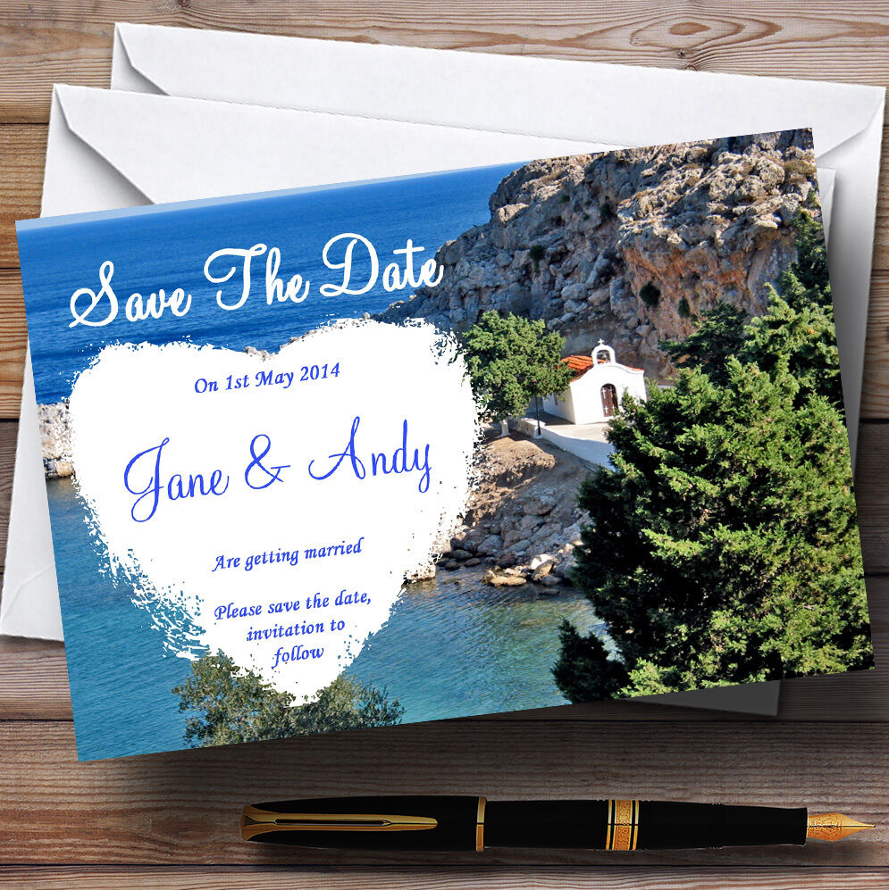 Heart St Pauls Lindos Rhodes Abroad Personalised Wedding Save The Date Cards