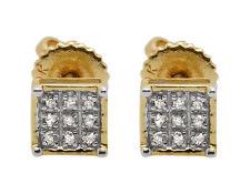 10K Yellow Gold Square Genuine Round Diamond Ladies Men's Stud Earring .08ct 5MM