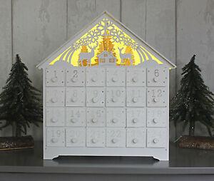 NUOVI-LED-DI-NATALE-IN-LEGNO-Calendario-dell-039-Avvento-Ornamento-A-BATTERIA-Natale-Festive