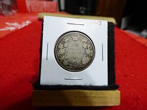 1913  CANADA  SILVER  HALF  DOLLAR  50 CENT PIECE   13  GOOD GRADE  SEE PHOTOS