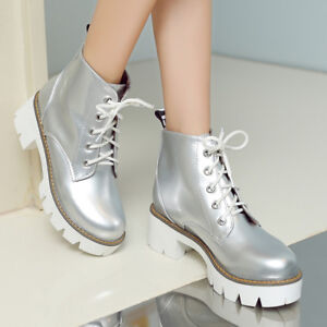 Ladies-Patent-Leather-Lace-up-Round-Toe-Ankle-Collegiate-Combat-Boots-Shoes-New