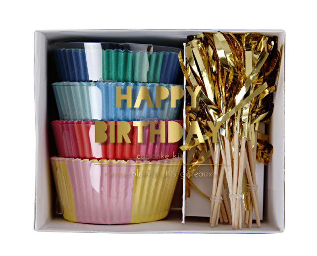 NEW MERI MERI HAPPY BIRTHDAY CUPCAKE KIT PARTIES & CELEBRATIONS SERVEWARE DECOR