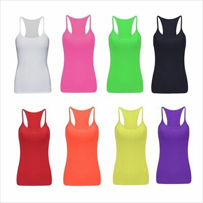 Kids Girls Plain Vest Top Neon Bright Dance Ages 5-12yrs Fancy Dress YellowColor