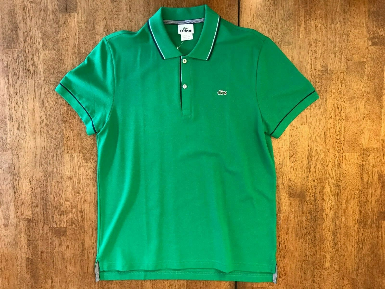 Lacoste Chlgoldphyll Green Twin Tipped Polo Shirt White Navy Medium M 5