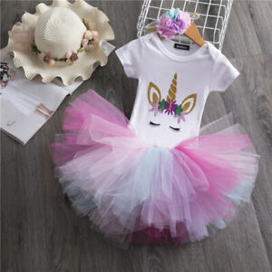 1st Birthday Unicorn Party Baby Girls Outfits Dress Sets Tutu Rainbow Clothes