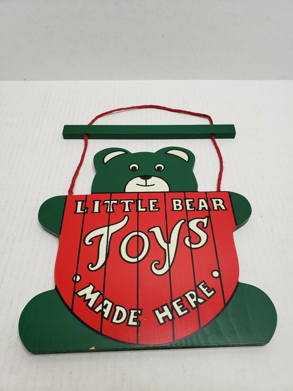 Retro Vintage Wooden Painted Little Bear Toys Made Here Hanging Sign 14 x10  USA