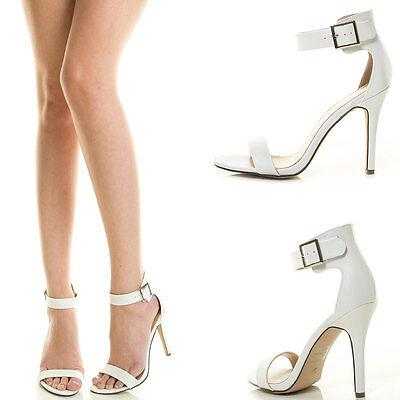 Pure White Open Toe Ankle Strap Cuff Stiletto Heel Platform Wedding Dress Sandal