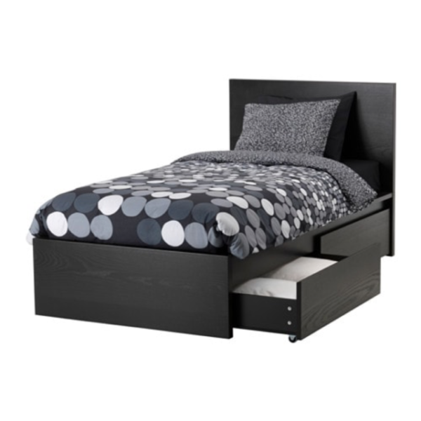 Ikea Malm Twin High Bed Frame 2 Storage, Ikea Malm Black Brown Queen Size Bed Frame