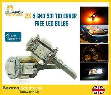 2x 5 SMD LED 501 W5W Canbus NO ERROR Amber Bulbs VW GOLF POLO LUPO BORA PASSAT