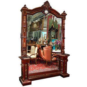 Pottier-Stymus-Walnut-Hall-Mirror-with-Painted-Porcelain-Plaque-on-Crest-6496