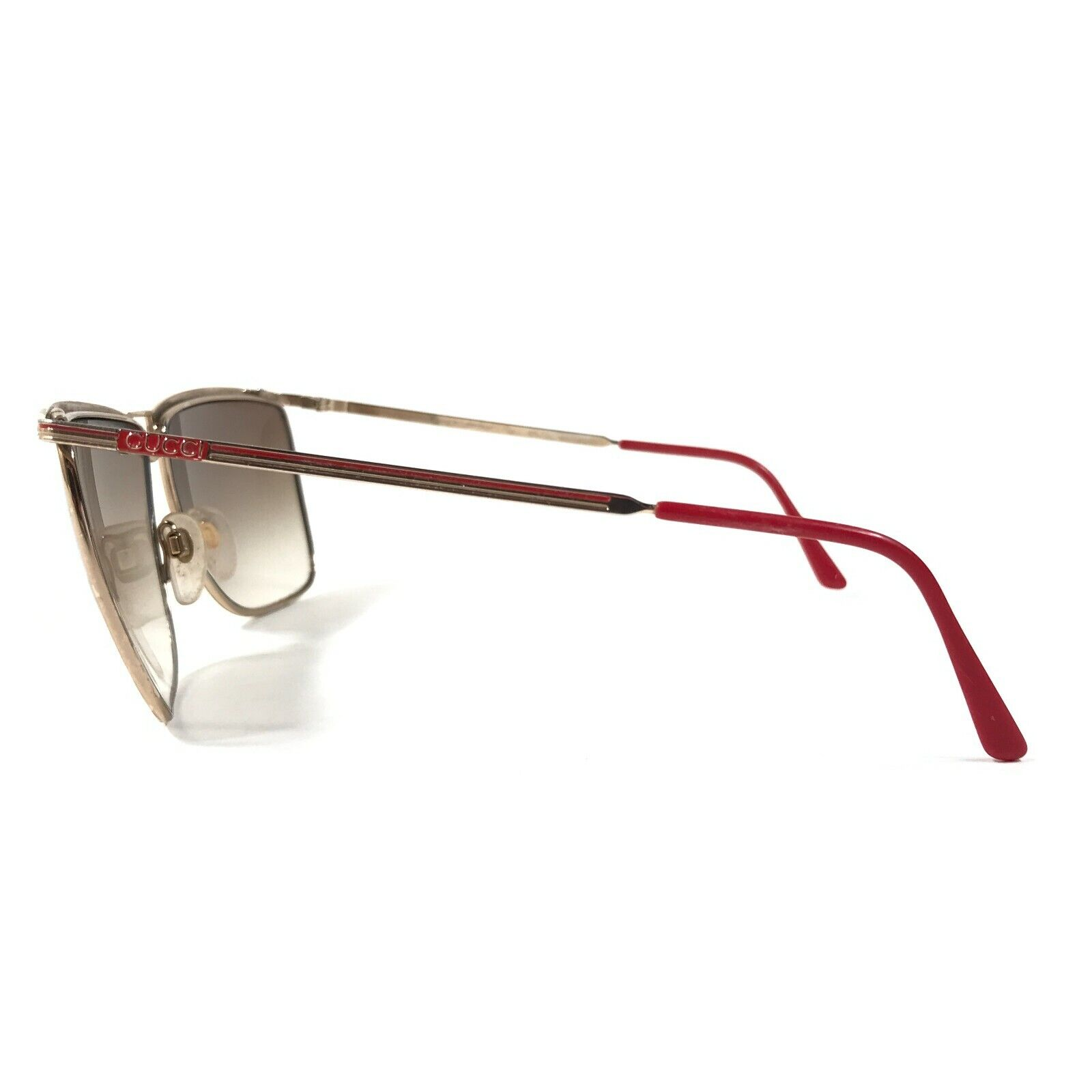 Vintage Gucci Sunglasses 70s 80s Gold Red Logos B… - image 6