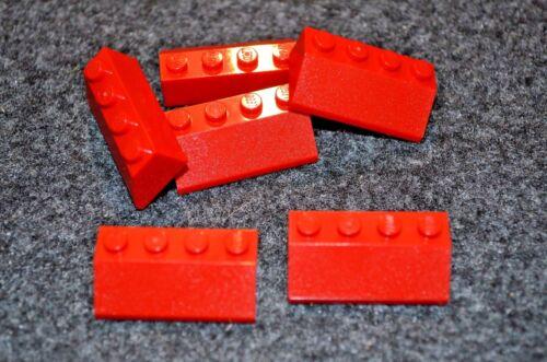 (6) 4x2 Red Standard Slope Lego Bricks - NEW Parts