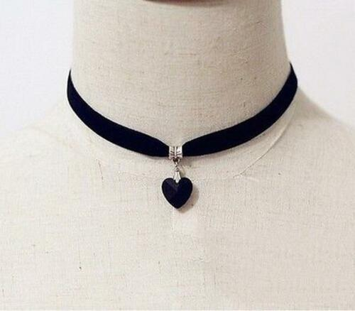 Black-Velvet-Choker-Crystal-Heart-Pendant-Gothic-Handmade-PUNK-Necklace-30