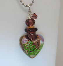 PURPLE GLASS CREMATION HEART URN NECKLACE CREMATION JEWELRY MEMORIAL KEEPSAKE
